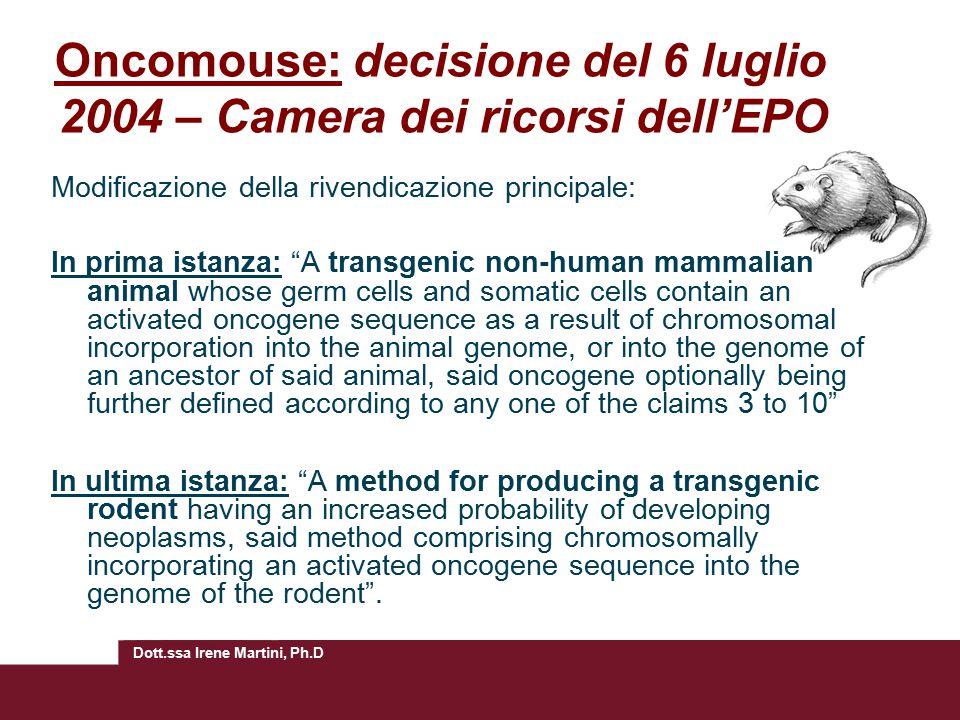 Oncomouse: decisione del 6 luglio 2004 – Camera dei ricorsi dell'EPO