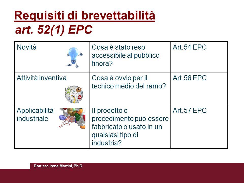 Requisiti di brevettabilità art. 52(1) EPC