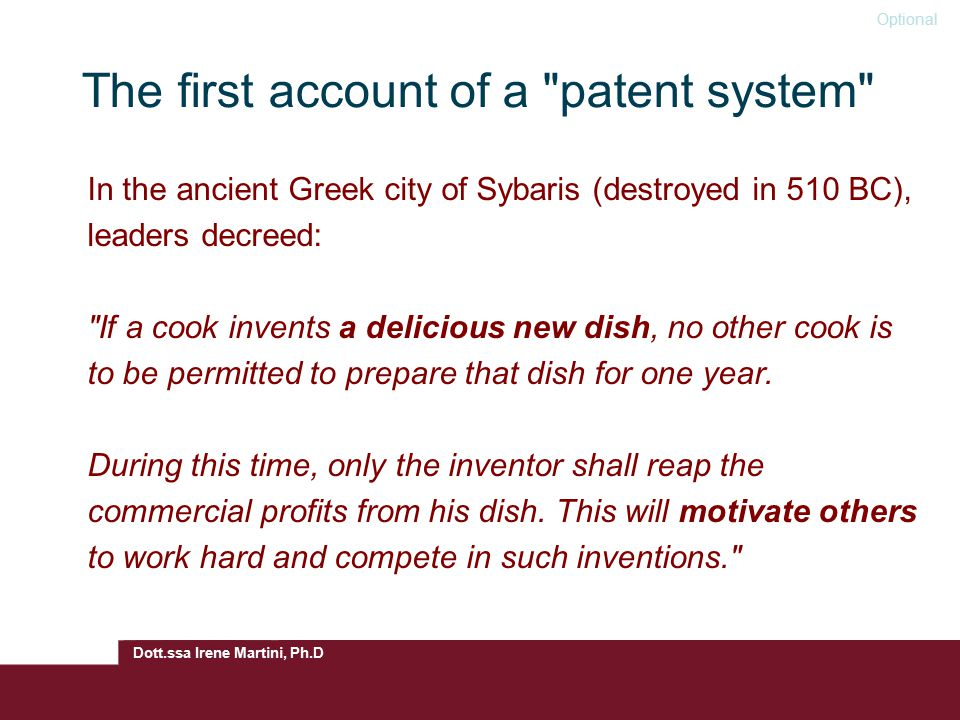 The first account of a patent system