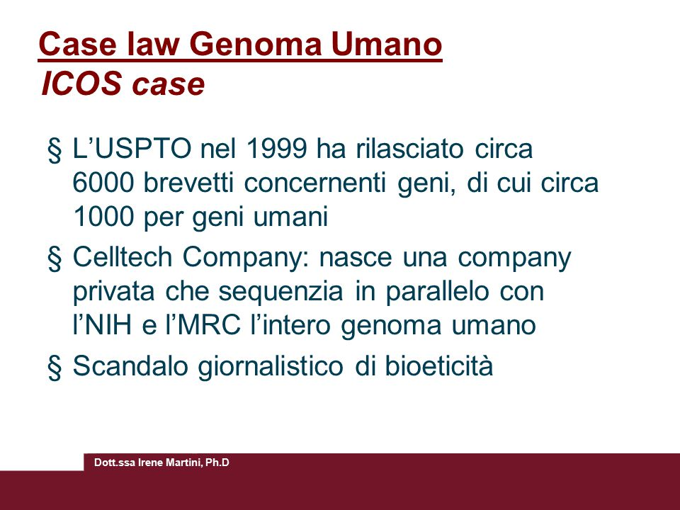 Case law Genoma Umano ICOS case