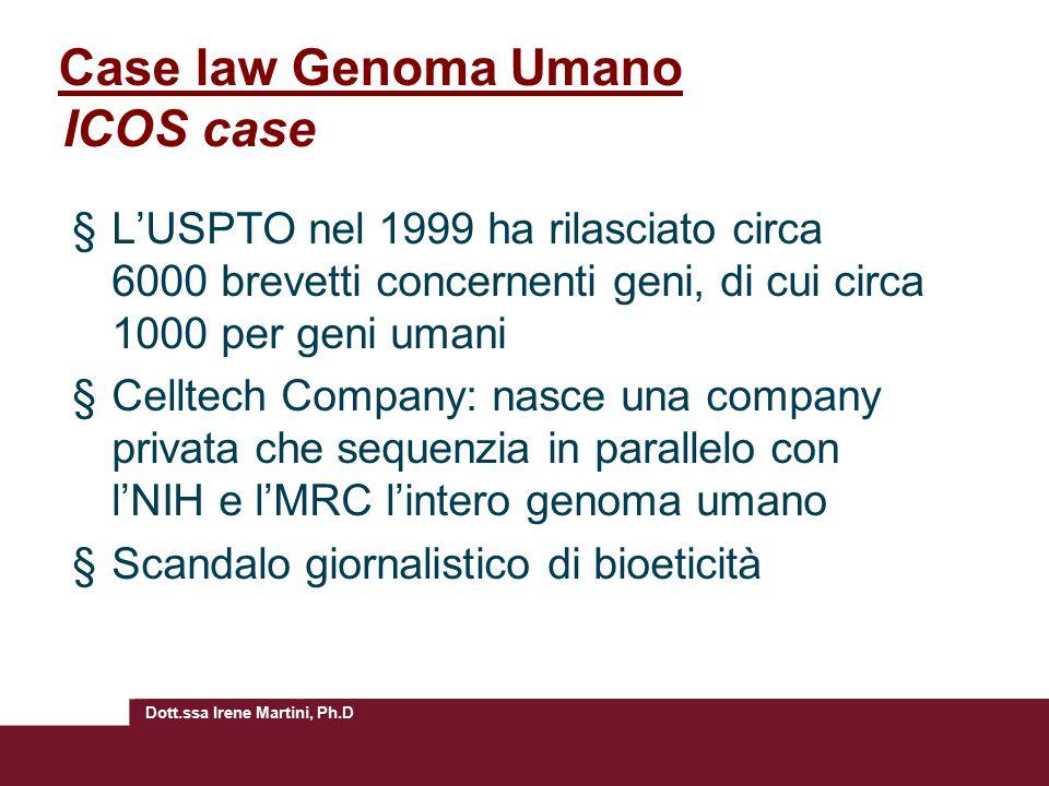 Case law Genoma Umano ICOS case