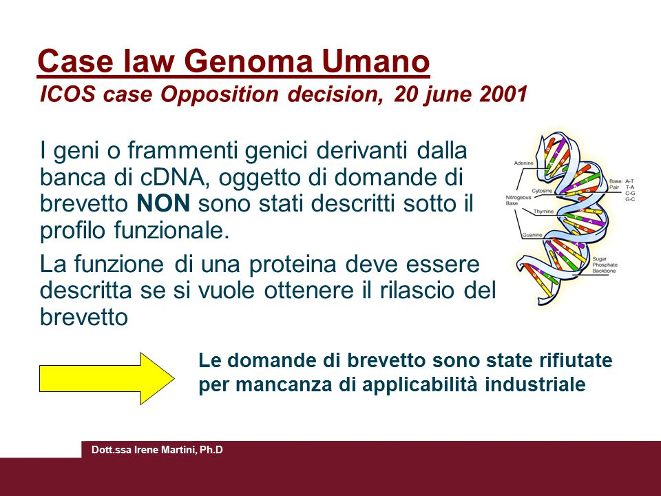 Case law Genoma Umano ICOS case Opposition decision, 20 june 2001