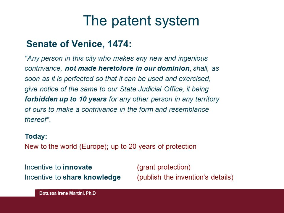 The patent system Senate of Venice, 1474: