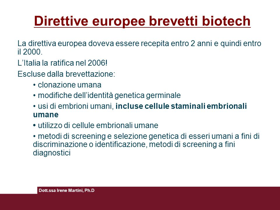 Direttive europee brevetti biotech