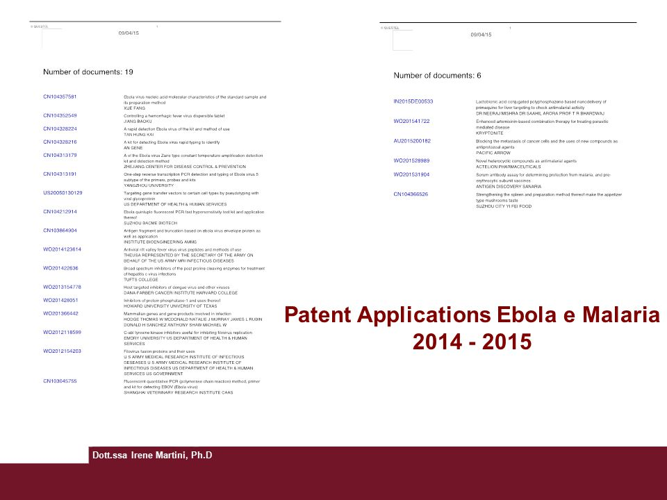 Patent Applications Ebola e Malaria