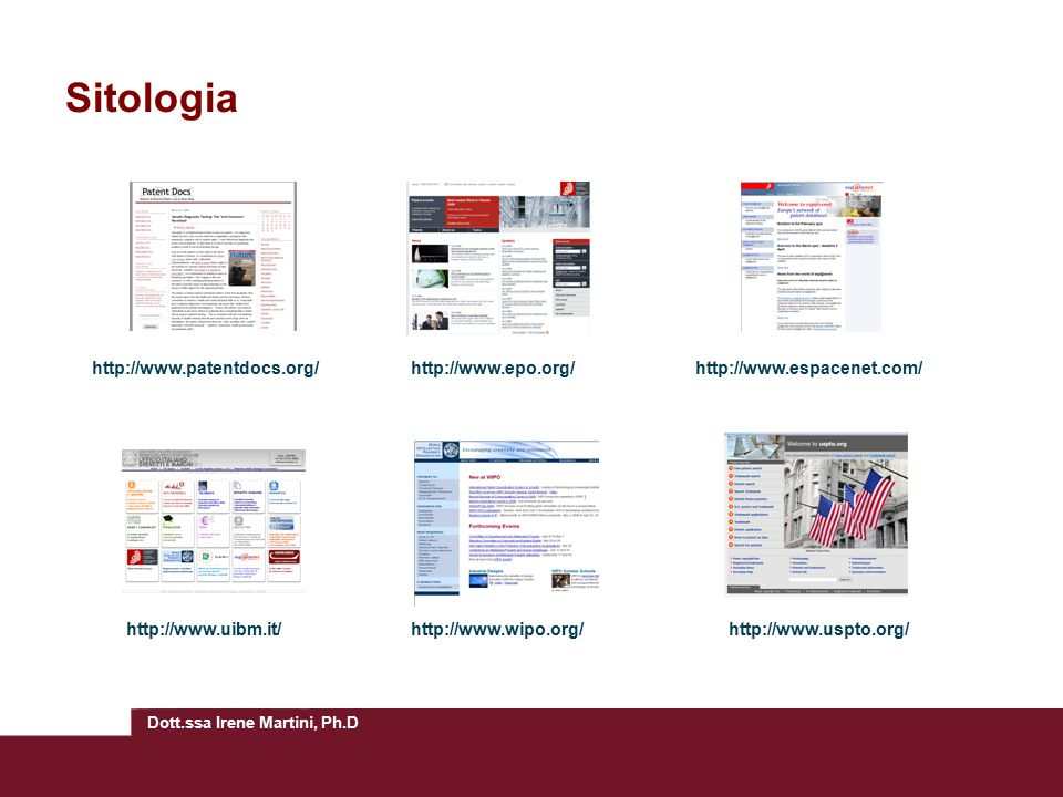 Sitologia http://www.patentdocs.org/ http://www.epo.org/