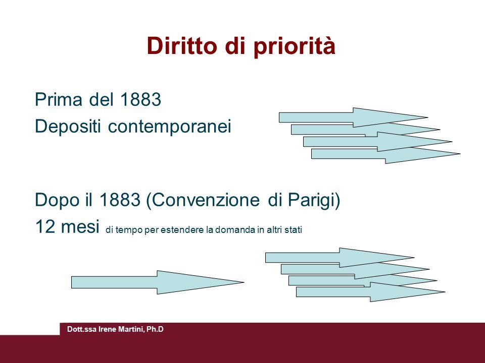Diritto di priorità Prima del 1883 Depositi contemporanei