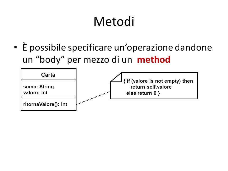 Metodi È possibile specificare un'operazione dandone un body per mezzo di un method. Carta. seme: String.