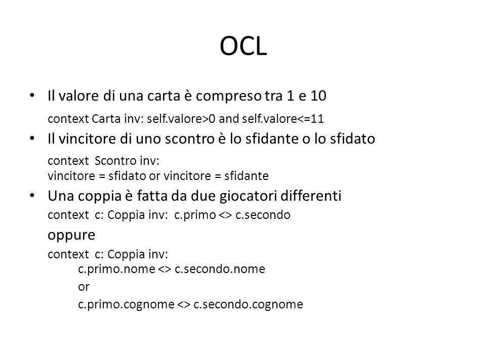 OCL Il valore di una carta è compreso tra 1 e 10