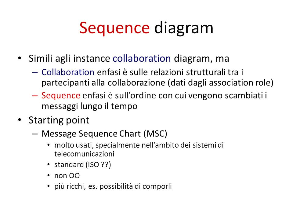 Sequence diagram Simili agli instance collaboration diagram, ma