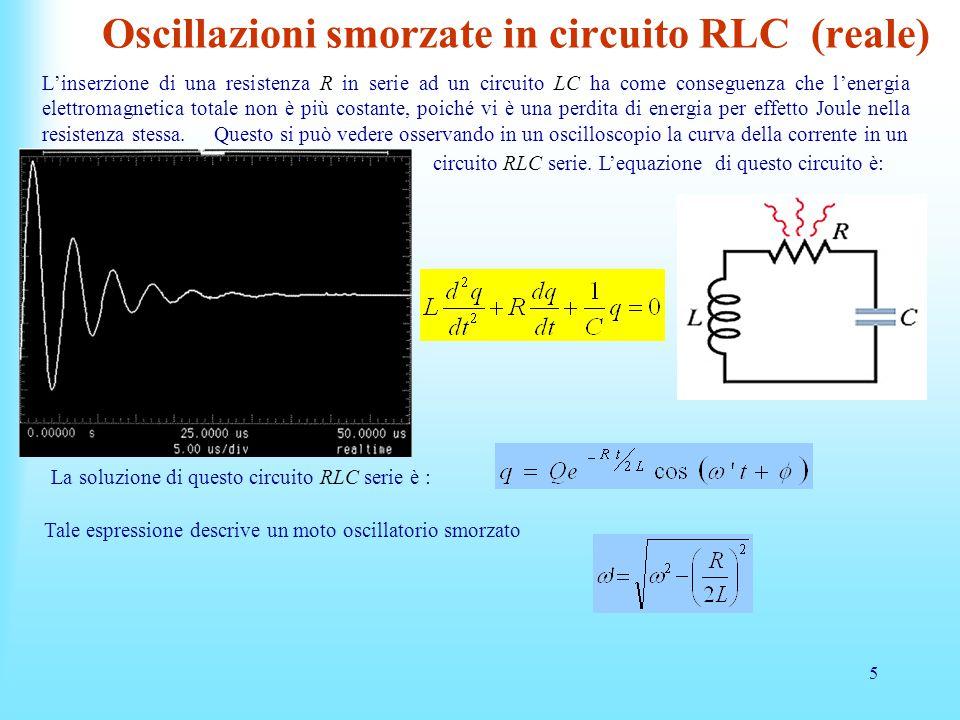 Oscillazioni smorzate in circuito RLC (reale)