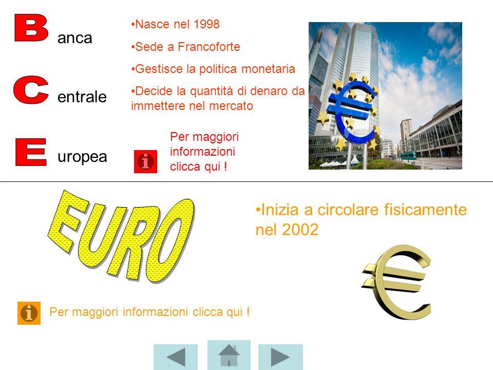 BCE EURO anca entrale uropea Inizia a circolare fisicamente nel 2002