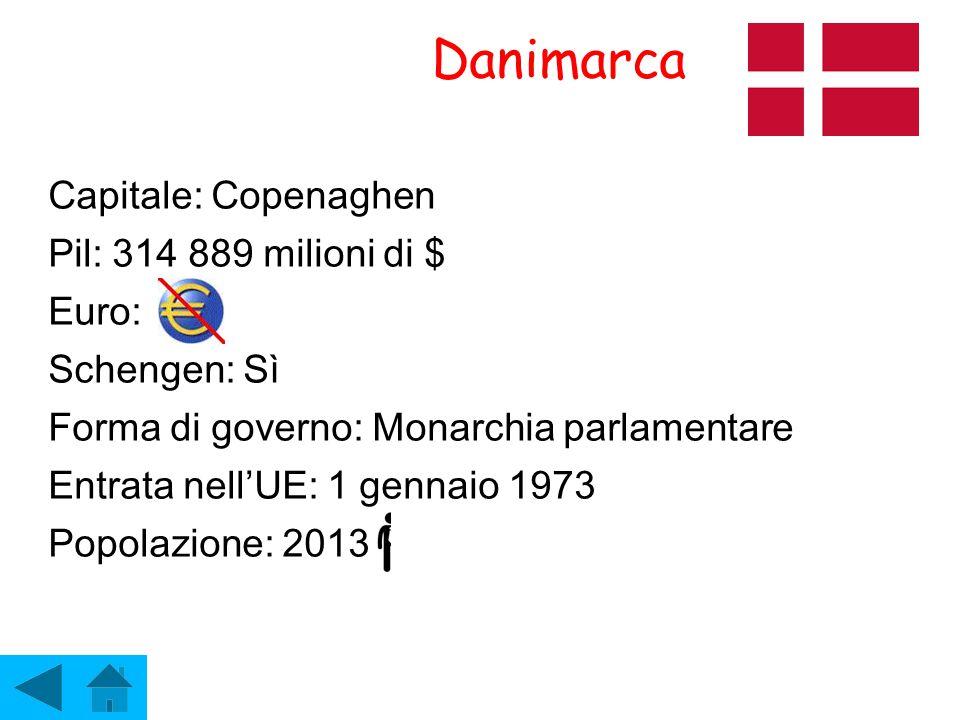 Danimarca Capitale: Copenaghen Pil: 314 889 milioni di $ Euro: