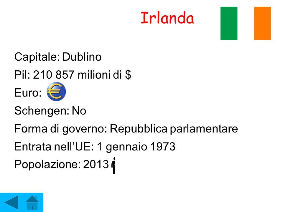 Irlanda Capitale: Dublino Pil: 210 857 milioni di $ Euro: Schengen: No