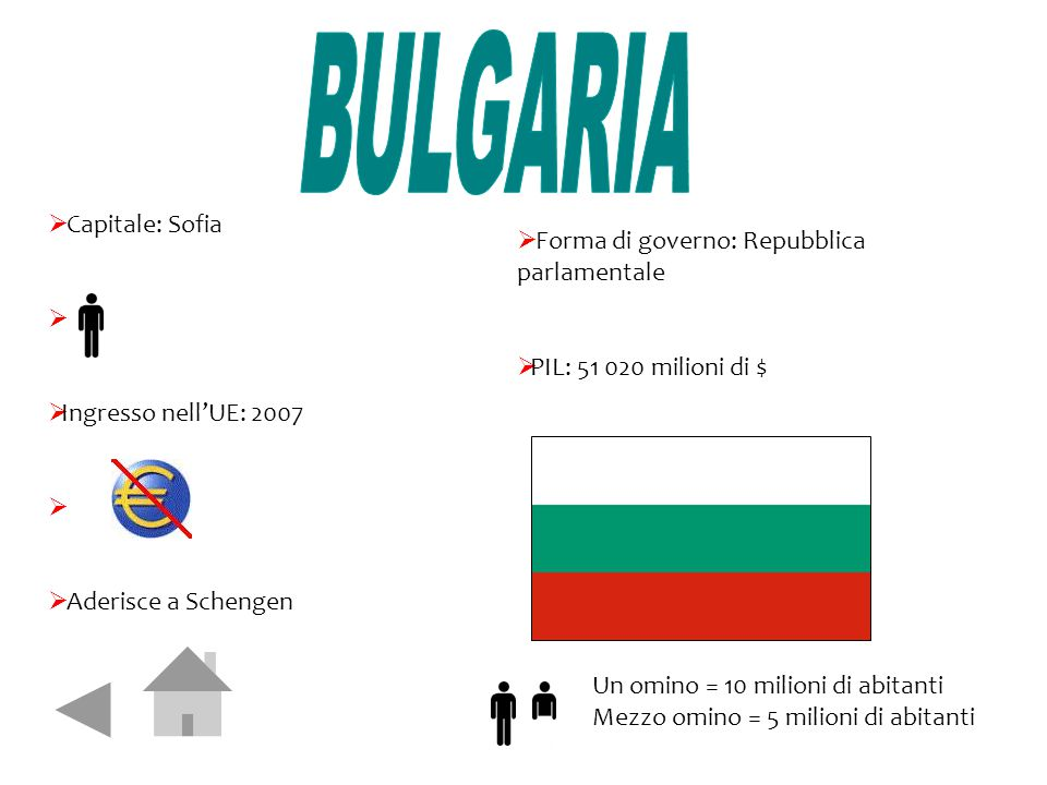 BULGARIA Capitale: Sofia Forma di governo: Repubblica parlamentale