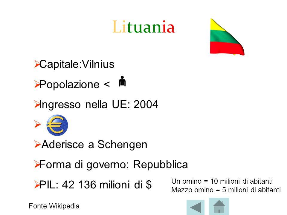 Lituania Capitale:Vilnius Popolazione < Ingresso nella UE: 2004
