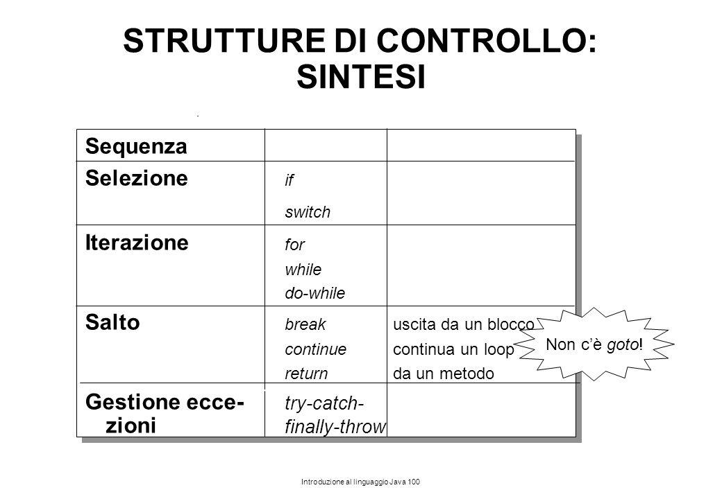 STRUTTURE DI CONTROLLO: SINTESI