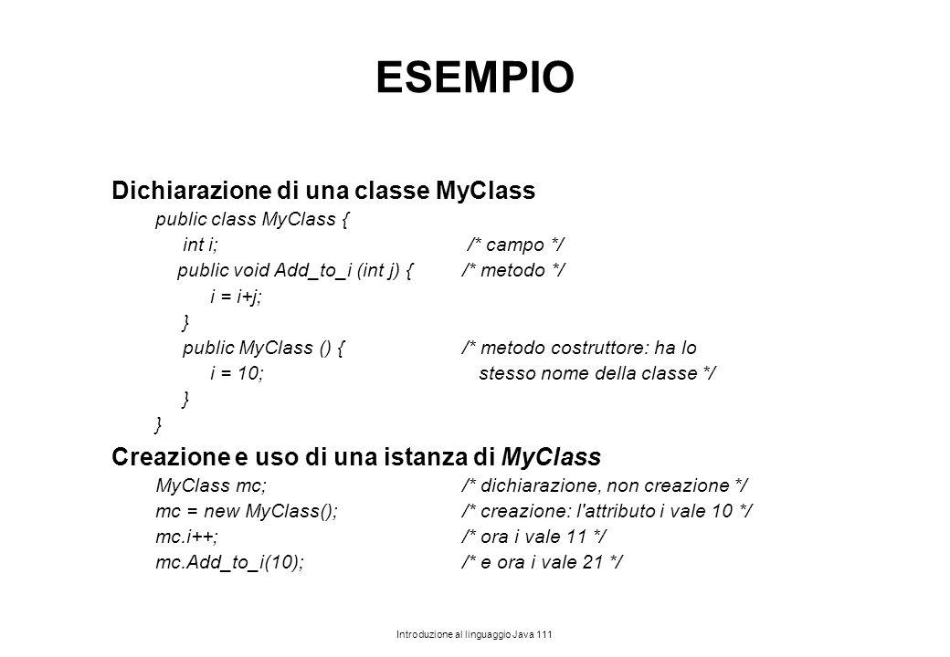 ESEMPIO Dichiarazione di una classe MyClass
