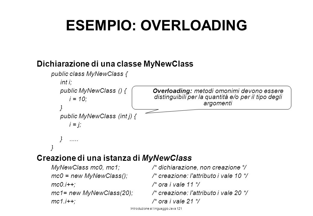 ESEMPIO: OVERLOADING Dichiarazione di una classe MyNewClass