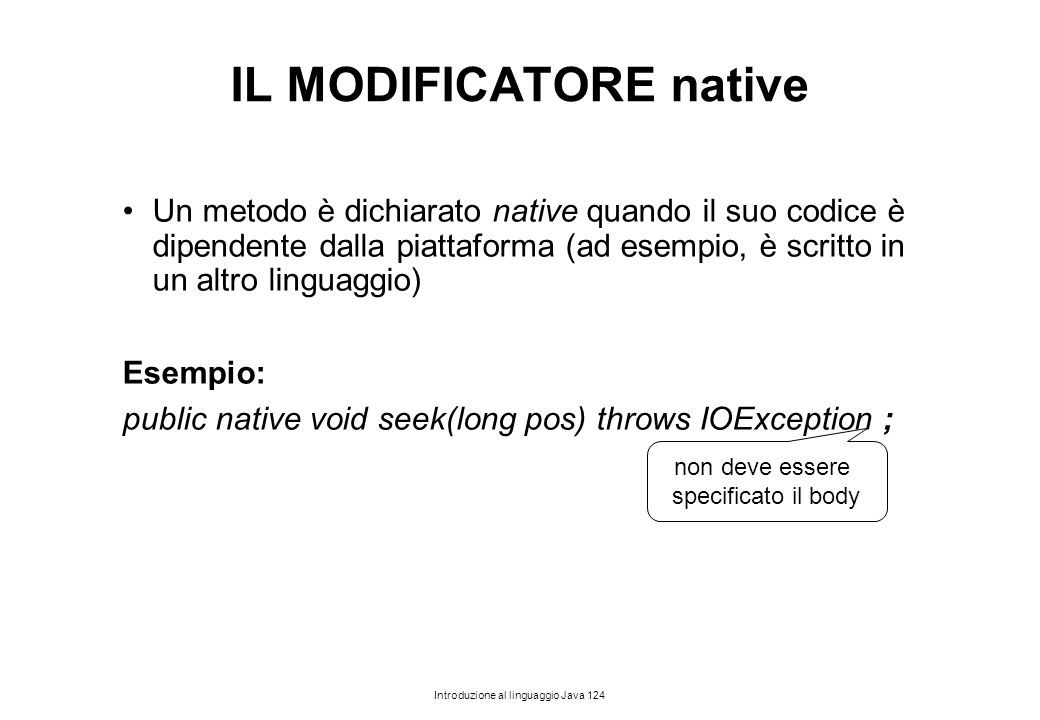 IL MODIFICATORE native