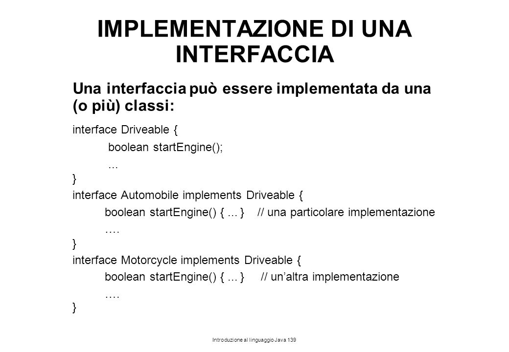 IMPLEMENTAZIONE DI UNA INTERFACCIA