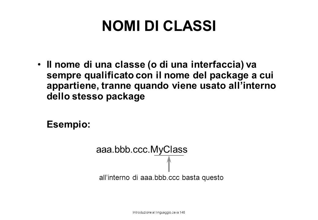 NOMI DI CLASSI