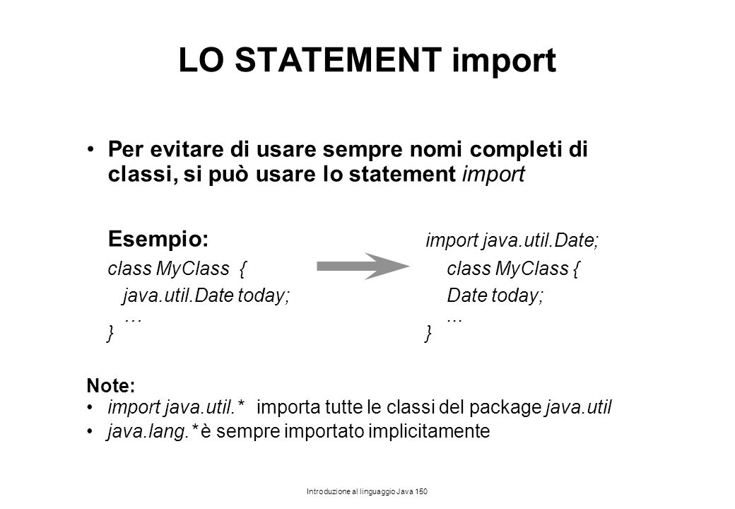 LO STATEMENT import Per evitare di usare sempre nomi completi di classi, si può usare lo statement import.