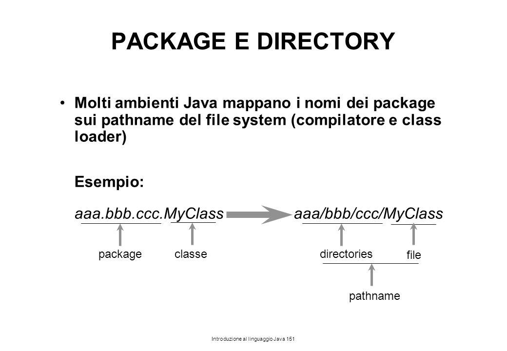 PACKAGE E DIRECTORY Molti ambienti Java mappano i nomi dei package sui pathname del file system (compilatore e class loader)