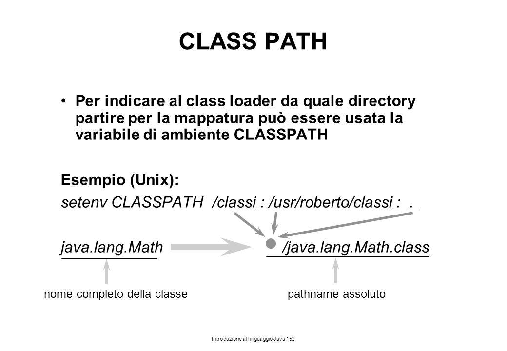 CLASS PATH Per indicare al class loader da quale directory partire per la mappatura può essere usata la variabile di ambiente CLASSPATH.