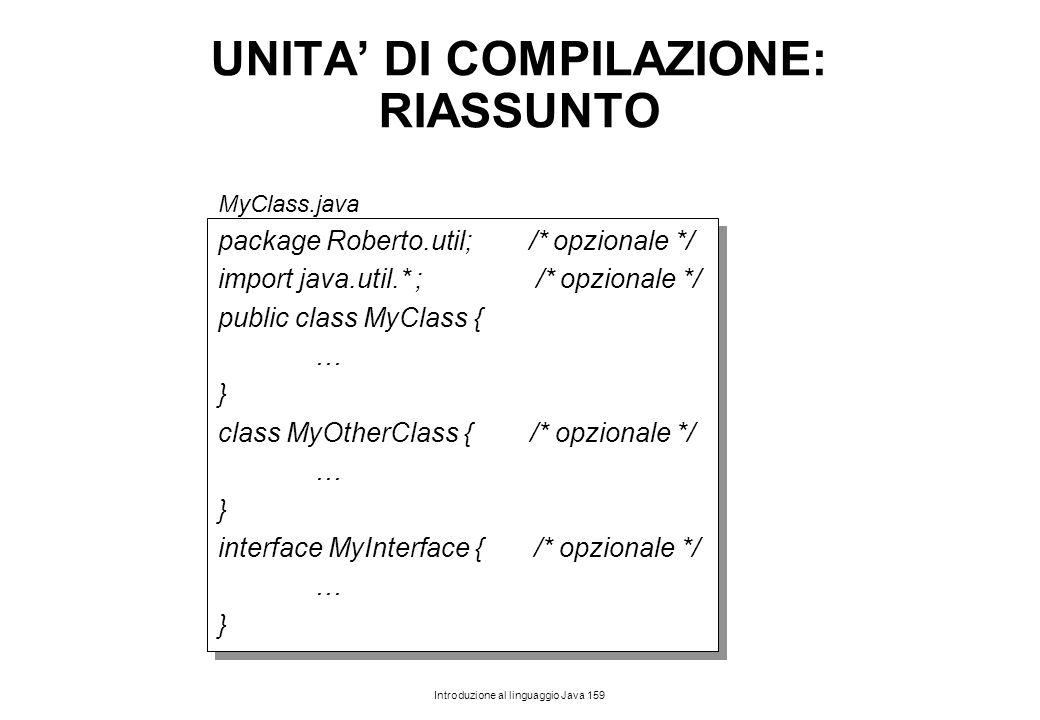 UNITA' DI COMPILAZIONE: RIASSUNTO