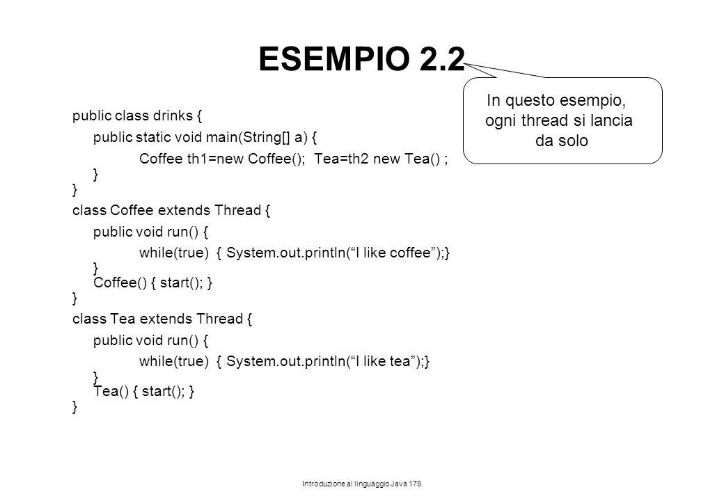 ESEMPIO 2.2 In questo esempio, ogni thread si lancia da solo