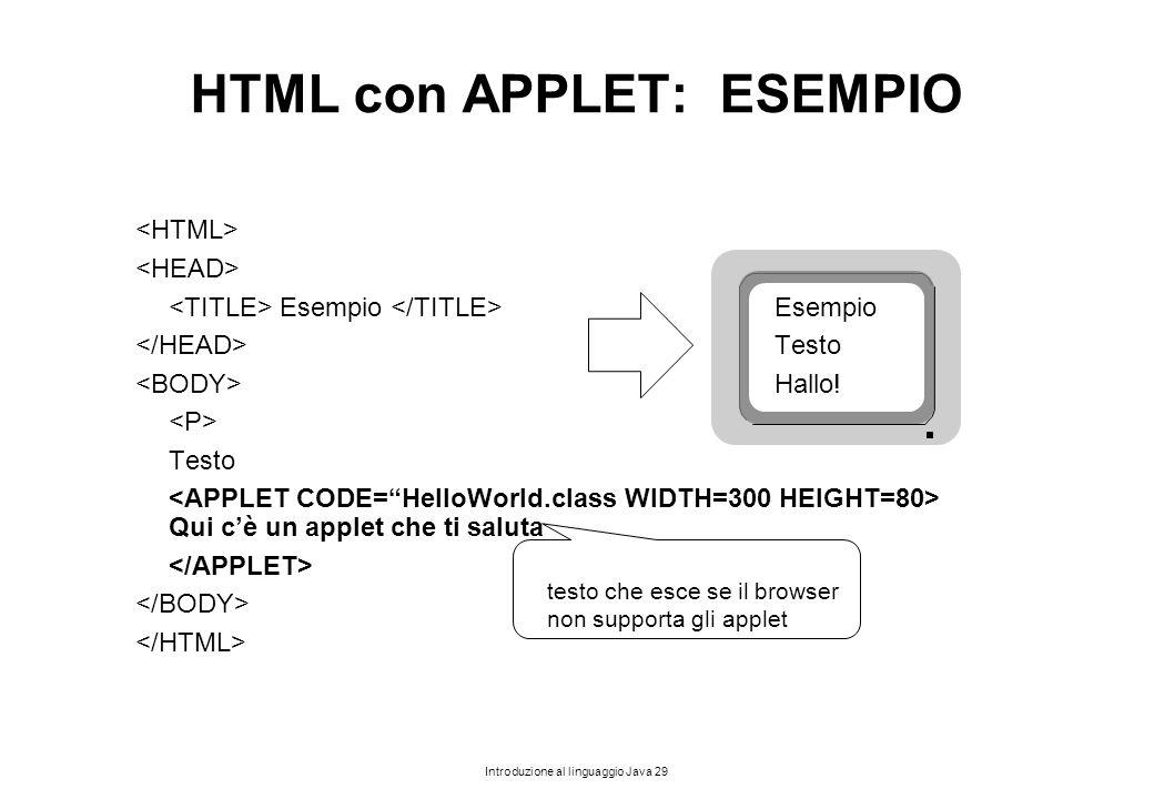 HTML con APPLET: ESEMPIO
