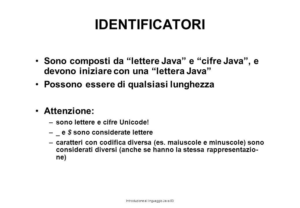 IDENTIFICATORI Sono composti da lettere Java e cifre Java , e devono iniziare con una lettera Java