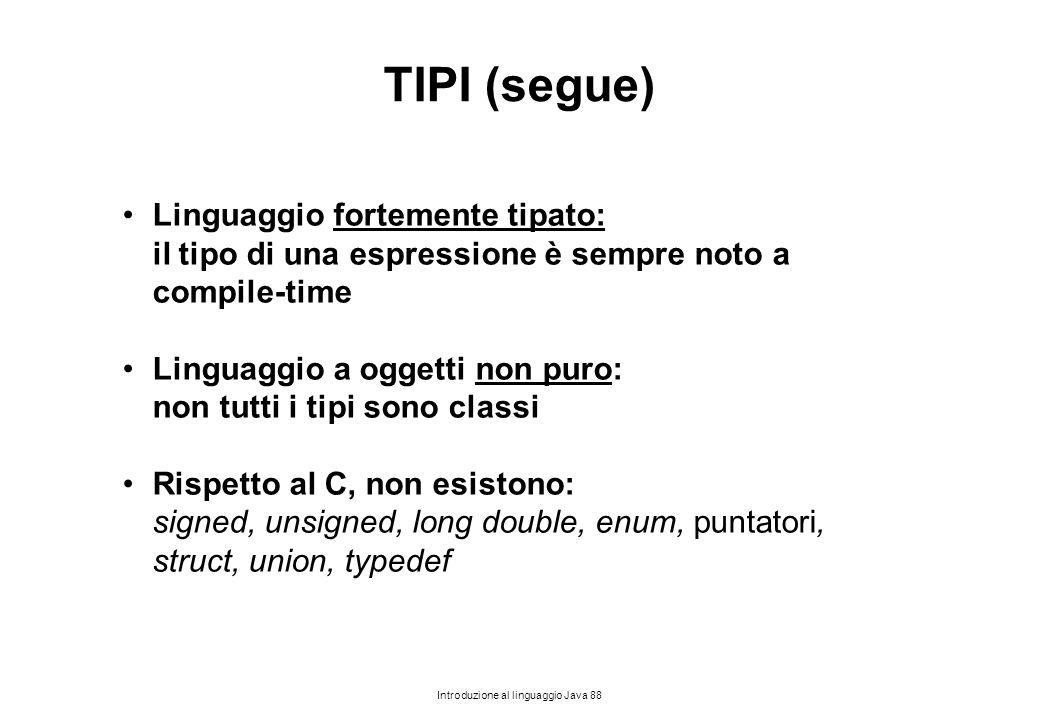 TIPI (segue) Linguaggio fortemente tipato: il tipo di una espressione è sempre noto a compile-time.