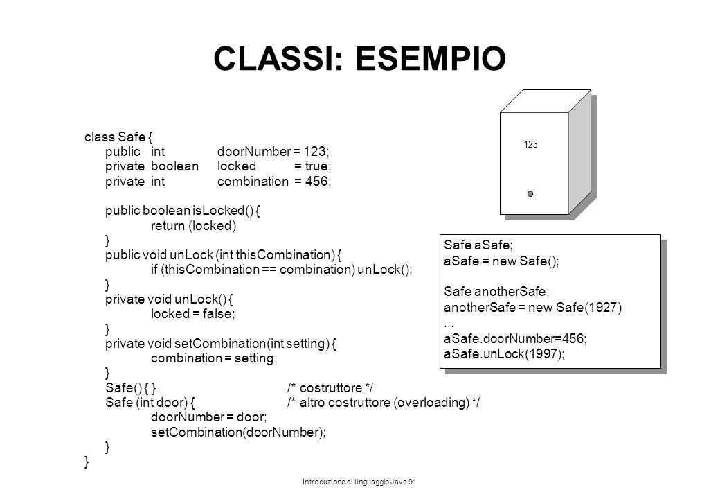 CLASSI: ESEMPIO class Safe { public int doorNumber = 123;