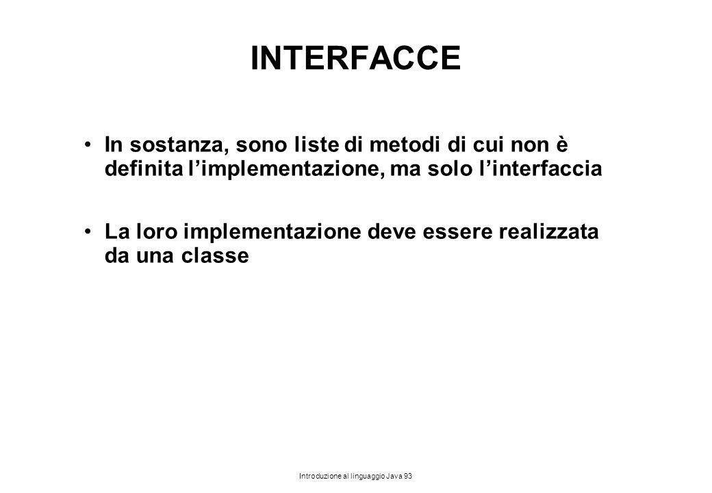 INTERFACCE In sostanza, sono liste di metodi di cui non è definita l'implementazione, ma solo l'interfaccia.