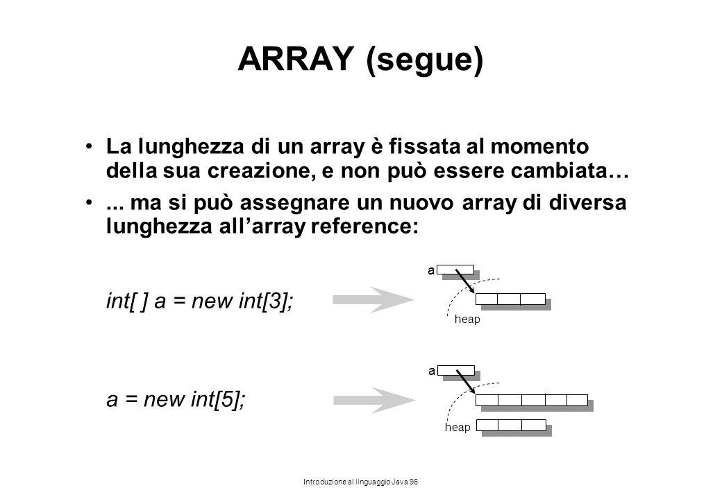 ARRAY (segue) La lunghezza di un array è fissata al momento della sua creazione, e non può essere cambiata…