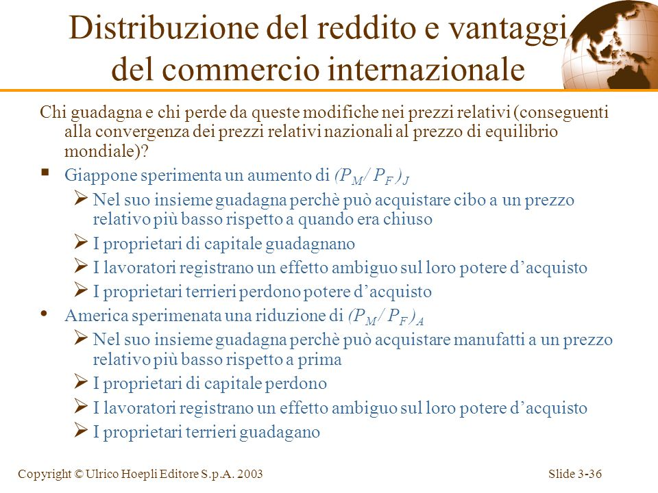 Distribuzione del reddito e vantaggi del commercio internazionale