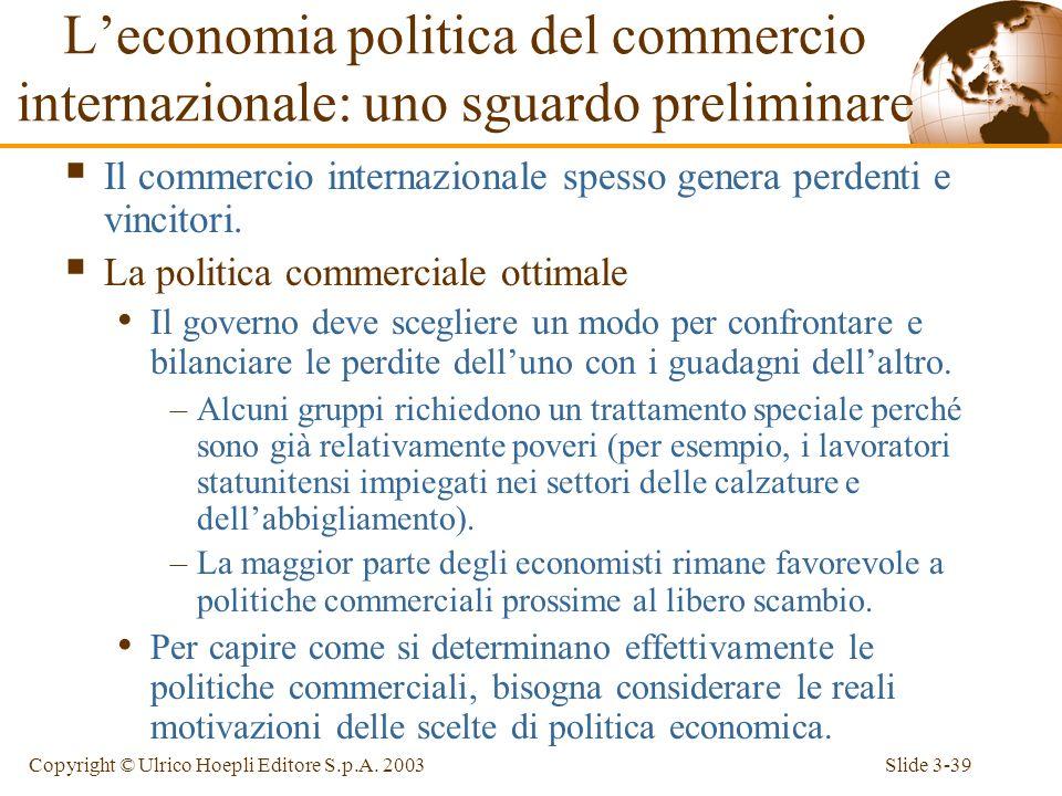 L'economia politica del commercio internazionale: uno sguardo preliminare