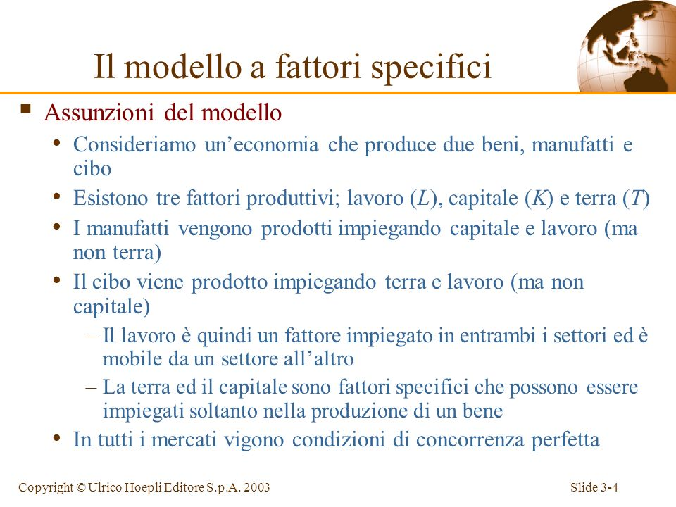 Il modello a fattori specifici
