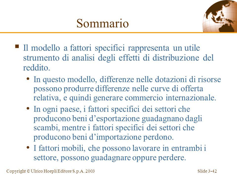 Sommario Il modello a fattori specifici rappresenta un utile strumento di analisi degli effetti di distribuzione del reddito.