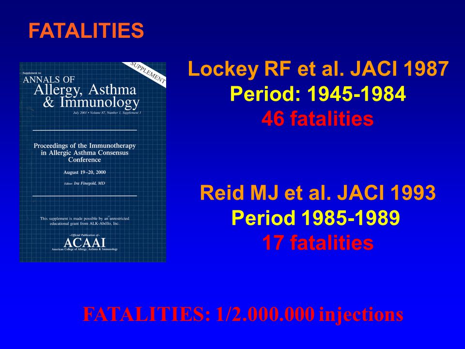 FATALITIES Lockey RF et al. JACI 1987. Period: 1945-1984. 46 fatalities. Reid MJ et al. JACI 1993.