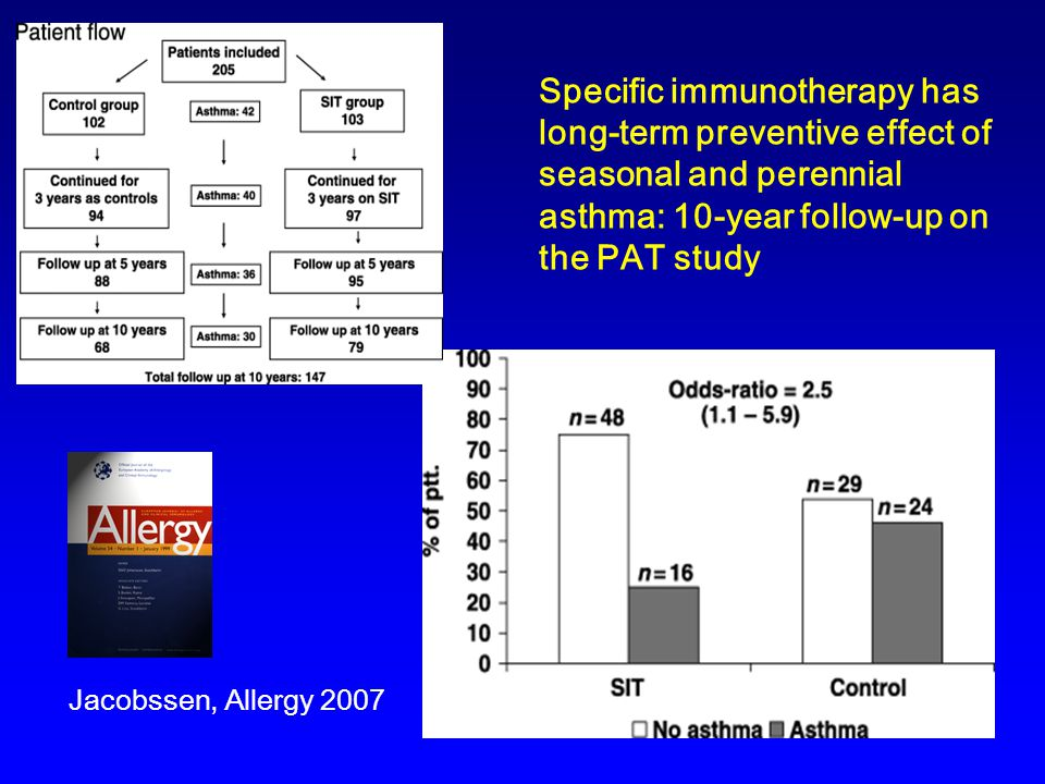 Specific immunotherapy has long-term preventive effect of seasonal and perennial asthma: 10-year follow-up on the PAT study