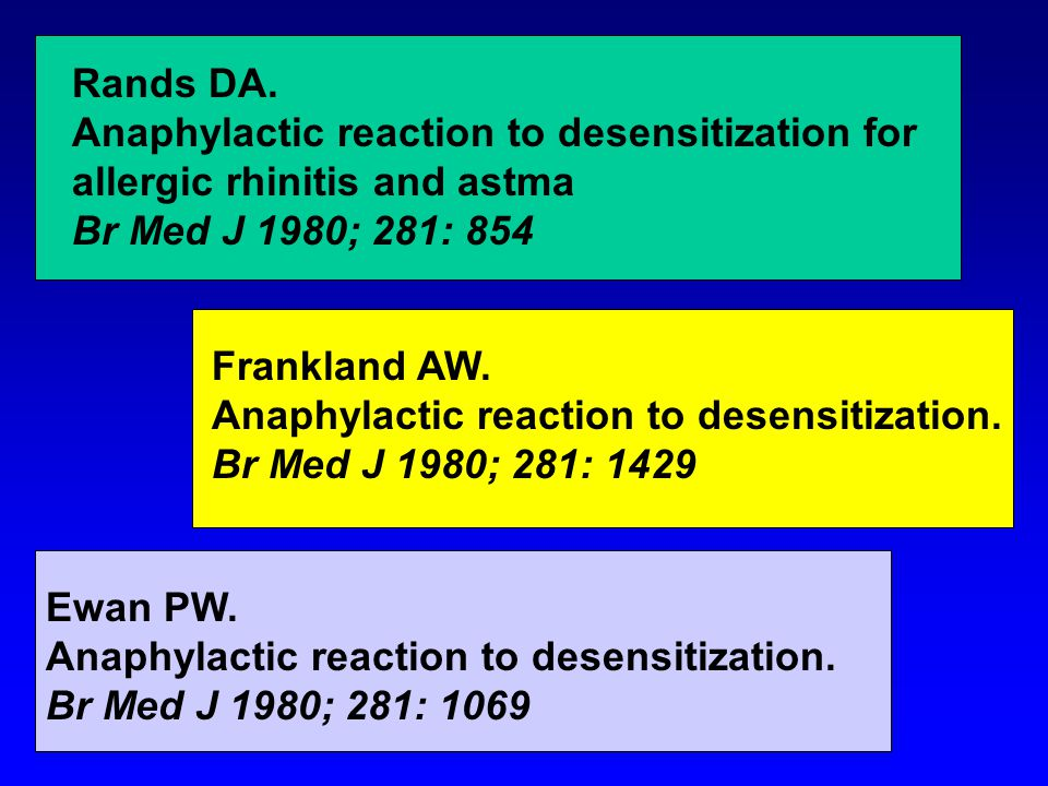 Rands DA. Anaphylactic reaction to desensitization for. allergic rhinitis and astma. Br Med J 1980; 281: 854.