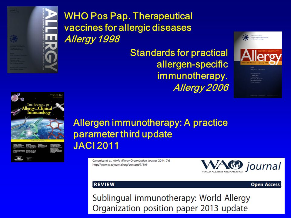 WHO Pos Pap. Therapeutical vaccines for allergic diseases