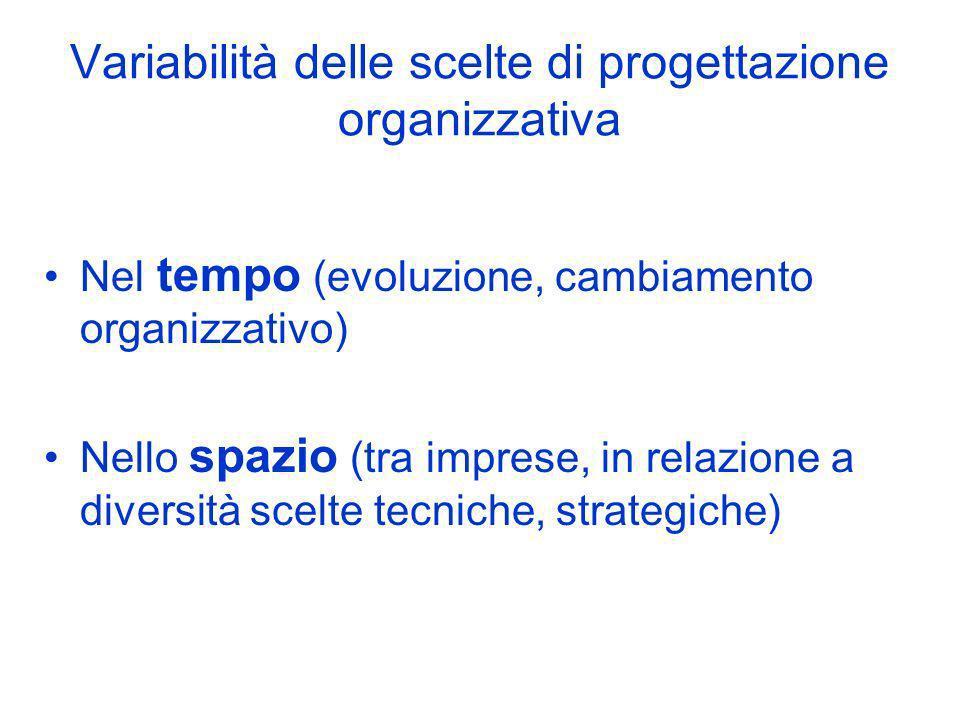 Variabilità delle scelte di progettazione organizzativa