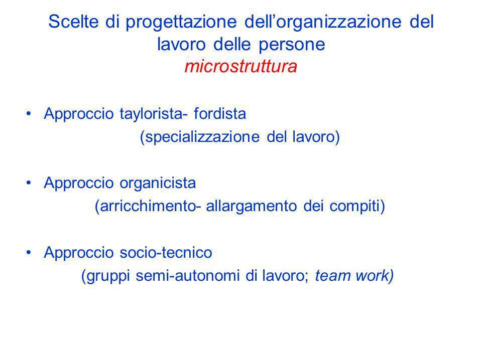 Approccio taylorista- fordista (specializzazione del lavoro)