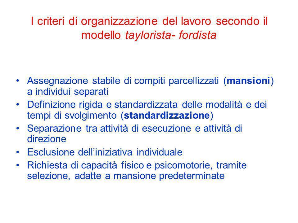 I criteri di organizzazione del lavoro secondo il modello taylorista- fordista