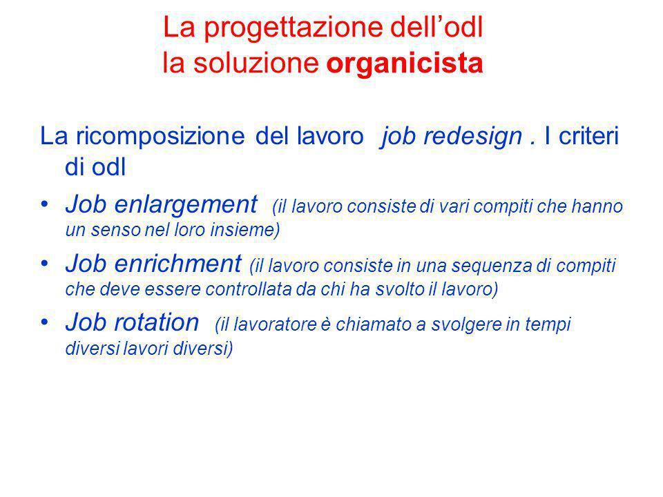 La progettazione dell'odl la soluzione organicista