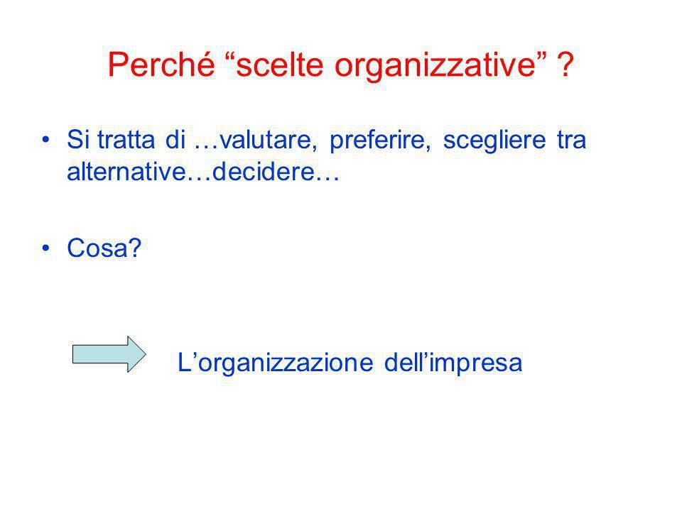 Perché scelte organizzative